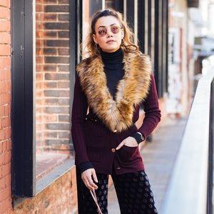 """TRINA TURK """"Pose"""" Sweater Cardigan with Faux Fur"""